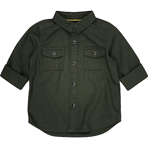 Mini boys khaki military Oxford shirt