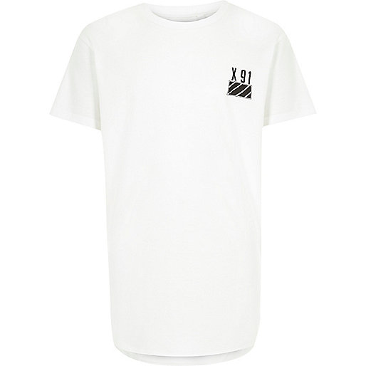 Boys white curved hem t-shirt