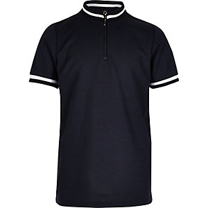 Boys blue high neck polo