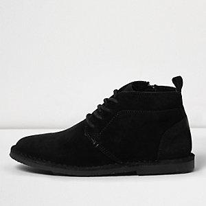 Boys black suede desert boots