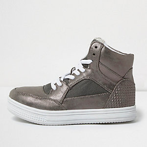 Boys silver metallic panel hi tops