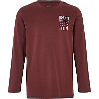 Boys dark red 'Bklyn' print T-shirt