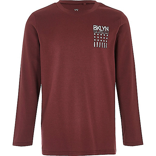 Boys burgundy 'Bklyn' print T-shirt