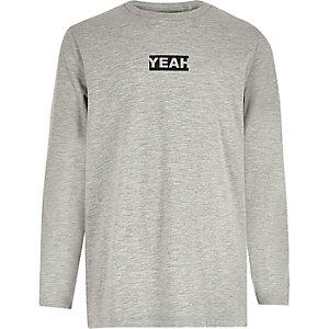 Boys grey 'yeah' print long sleeve T-shirt