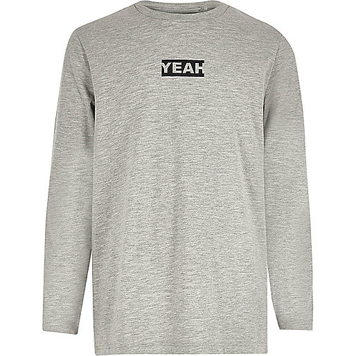 Boys grey 'yeah' print long sleeve T-shirt