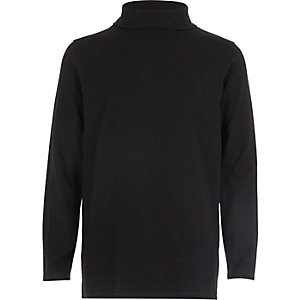Boys black roll neck top