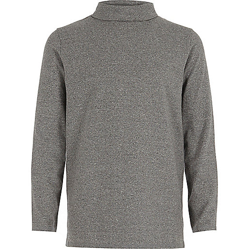 Boys grey roll neck top