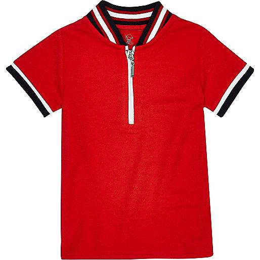 Polo rouge zippé à liseré pour mini garçon