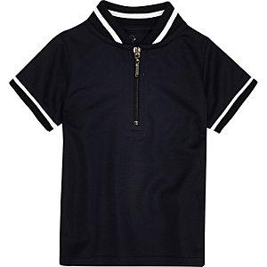 Mini boys navy tipped zip polo shirt