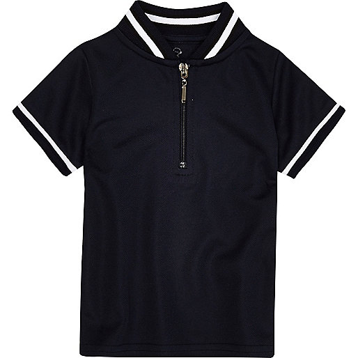 Mini boys navy tipped zip polo shirt