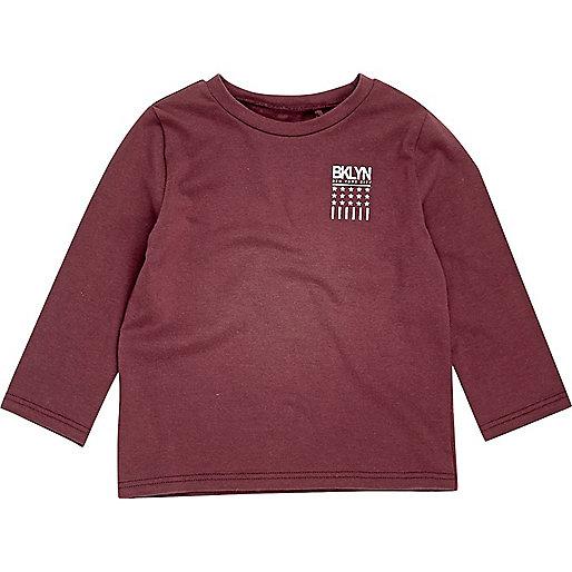 Mini boys burgundy 'Bklyn' print T-shirt