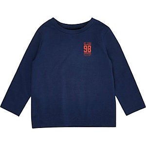 Mini boys navy print long sleeve T-shirt