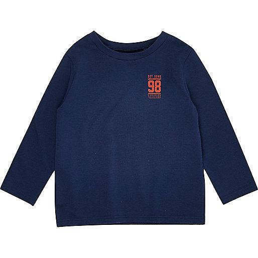 Mini boys navy print long sleeve T-shirt