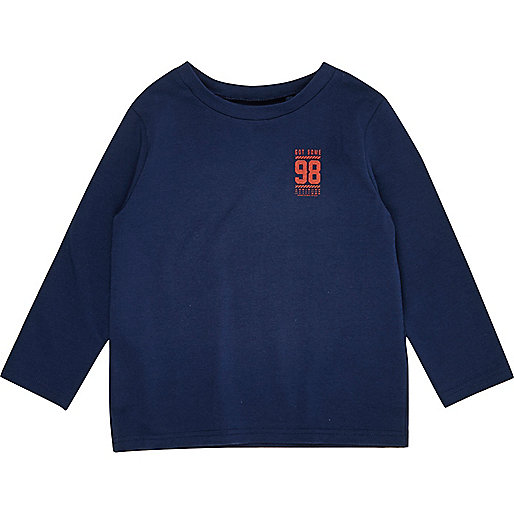 T-shirt imprimé bleu marine à manches longues pour mini garçon