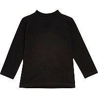 Mini boys black roll neck top