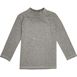Mini boys grey roll neck top