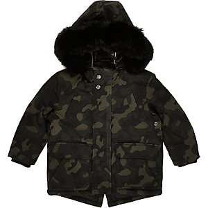 Mini boys khaki green camo parka