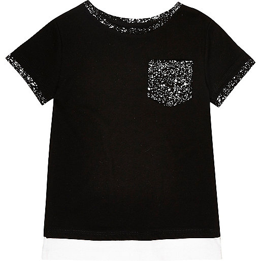 Mini boys black paint splatter print T-shirt