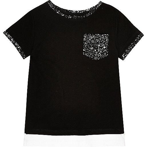 T-shirt noir imprimé éclaboussures de peinture mini garçon