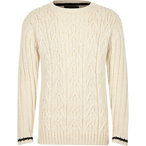 Boys ecru cable knit stripe cuff jumper