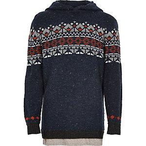 Boys navy fairisle knit hoodie