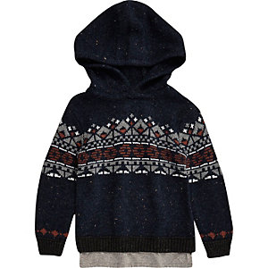 Mini boys navy fairisle knit hoodie