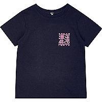 Mini boys navy Tokyo print T-shirt