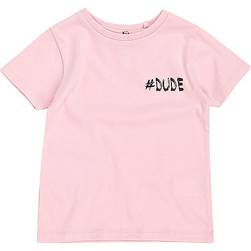 T-shirt imprimé #Dude rose mini garçon