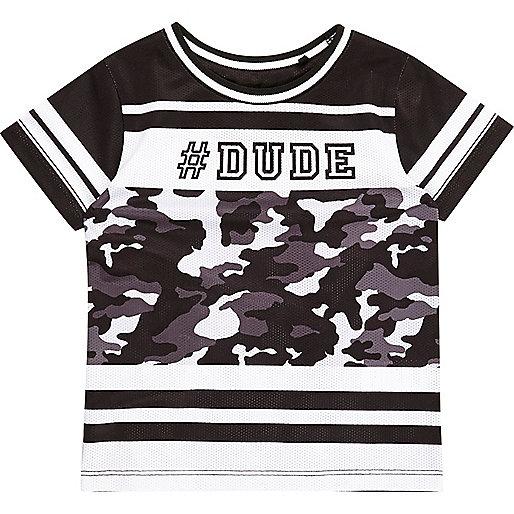 Schwarzes T-Shirt mit #dude-Print und Mesh-Einsatz