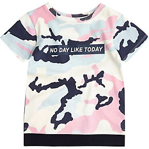 Mini boys pink double layer camo tee