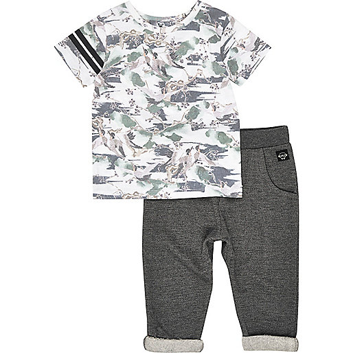 Mini boys bird print t-shirt joggers outfit