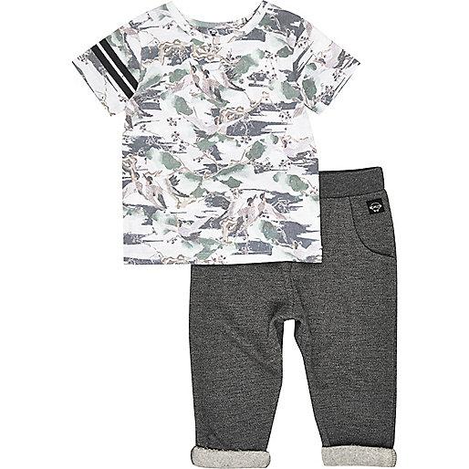 Ensemble t-shirt imprimé oiseaux et pantalon de jogging pour mini garçon