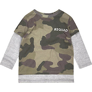 Mini boys camo layered T-shirt