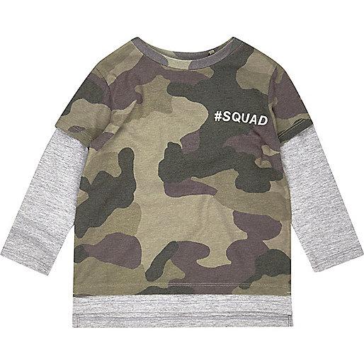 T-shirt camouflage à effet de superposition mini garçon