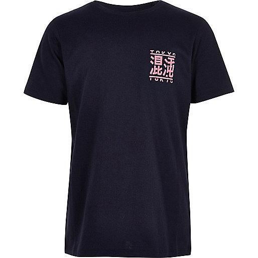 Marineblaues T-Shirt mit Tokyo-Print