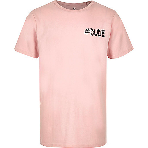 Boys pink '#Dude' print T-shirt