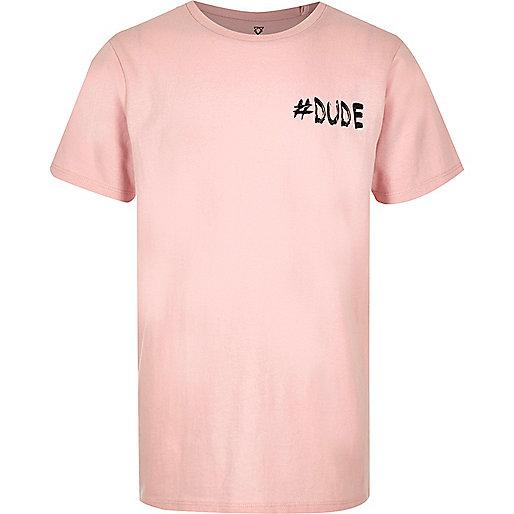 Boys pink '#Dude' print T-shirt