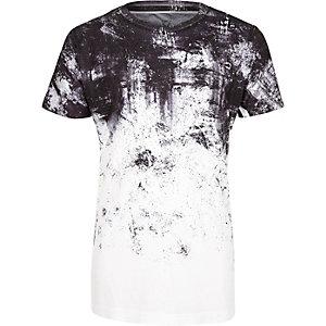 T-shirt blanc imprimé délavé pour garçon