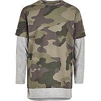T-shirt camouflage kaki à effet de superposition