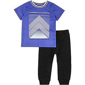 Mini boys blue mesh t-shirt joggers outfit