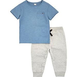 Ensemble pantalon de survêtement et t-shirt bleu chiné mini garçon