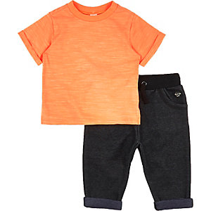 Mini boys orange t-shirt denim joggers outfit