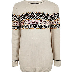 Boys stone fairisle jumper