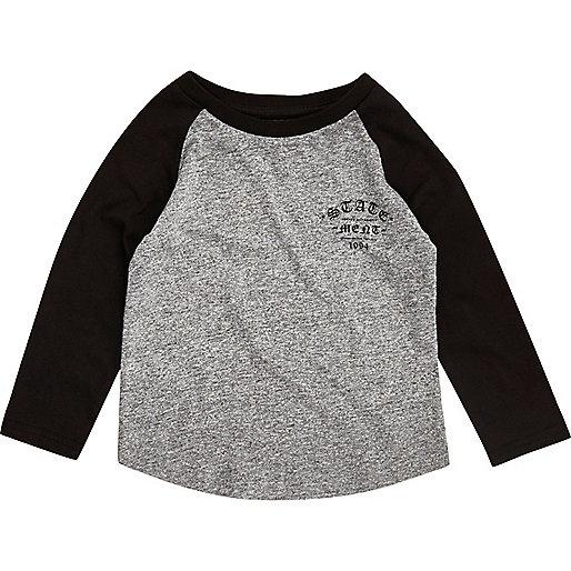 T-shirt gris à manches raglan imprimées mini garçon