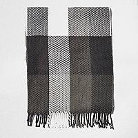 Boys ecru buffalo tartan scarf