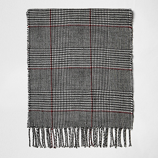 Boys grey check scarf