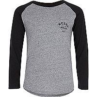 Boys grey logo raglan long sleeve T-shirt