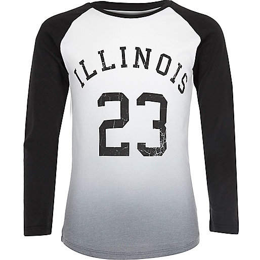 Boys white 'Illinois' raglan top
