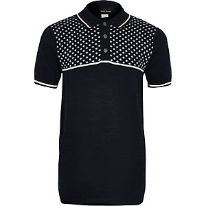 Boys navy geo block polo shirt