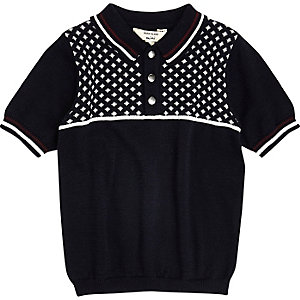 Mini boys navy geo block polo shirt